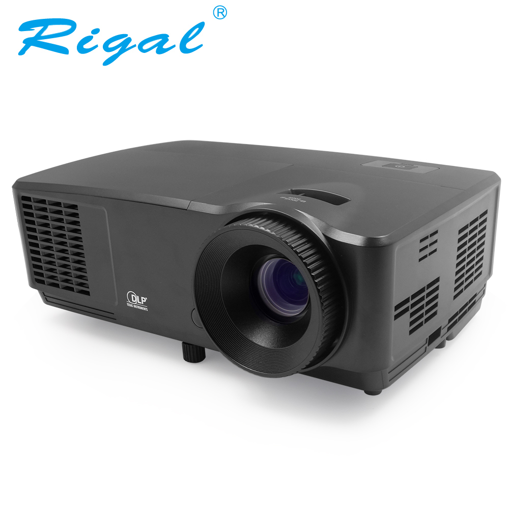 Rigal RD809 HD DLP Projector 5500 Lumens Active Shutter 3D Beamer Home Cinema Theater Meeting Business HDMI VGA Video Proyector