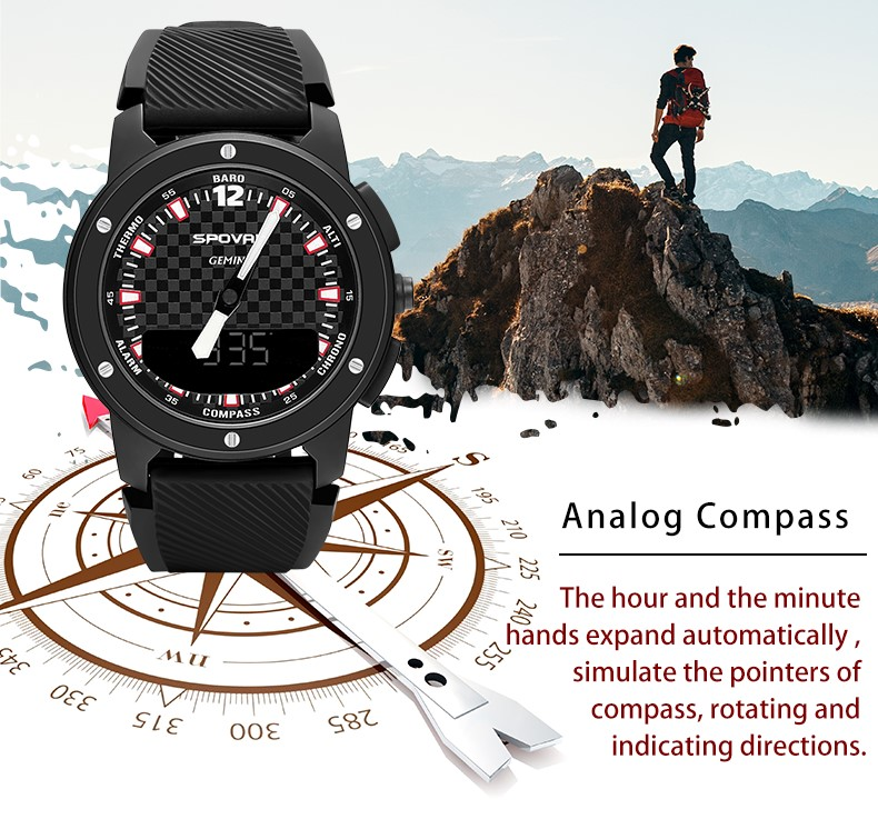 Compass Mountaineering Pressure Temperature Outdoor Intelligent Business Leisure Sports Waterproof Gift Watch for Men and Women
