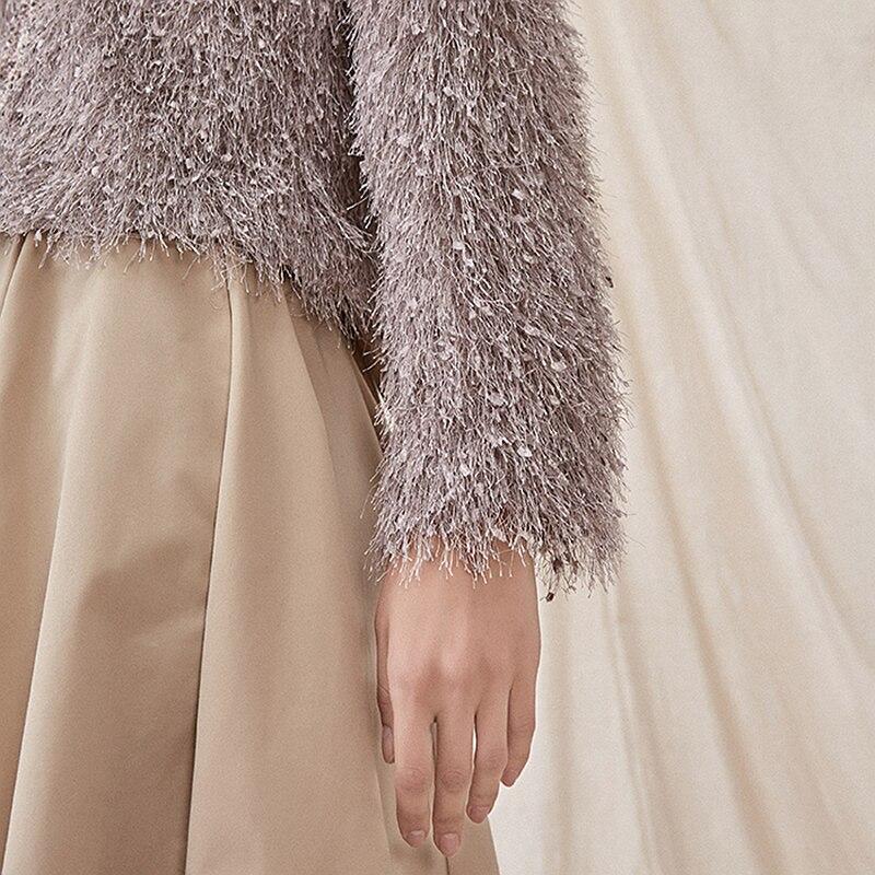 Cou Cardigans De Mode Femmes Élégant Longues Style 100 Nouveau Polyester V Manteau Épissé 2019 Tricoté Manches Gris Court Design xFYgFwq4r