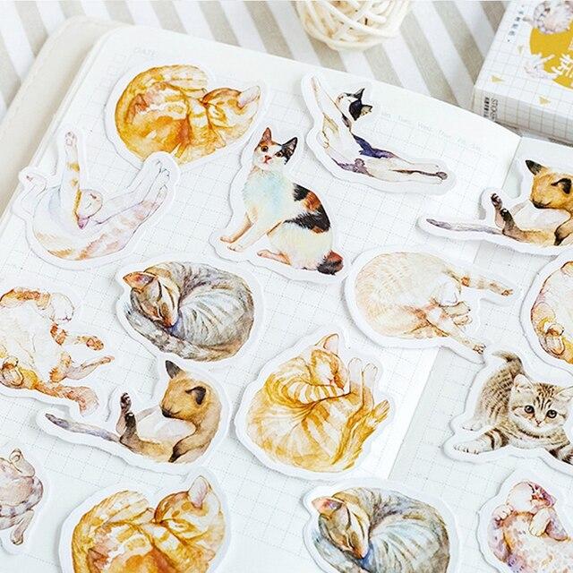 20パック/ロットミニ猫疾患かわいい紙ラベルステッカー日記粘着スクラップブッキングステッカー装飾diyステッカー卸売