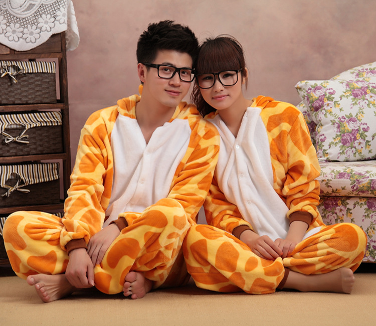 Giraffe Onesie Adult Women Animal  Pajamas Flannel Warm Loose Soft Nightgown Pyjama
