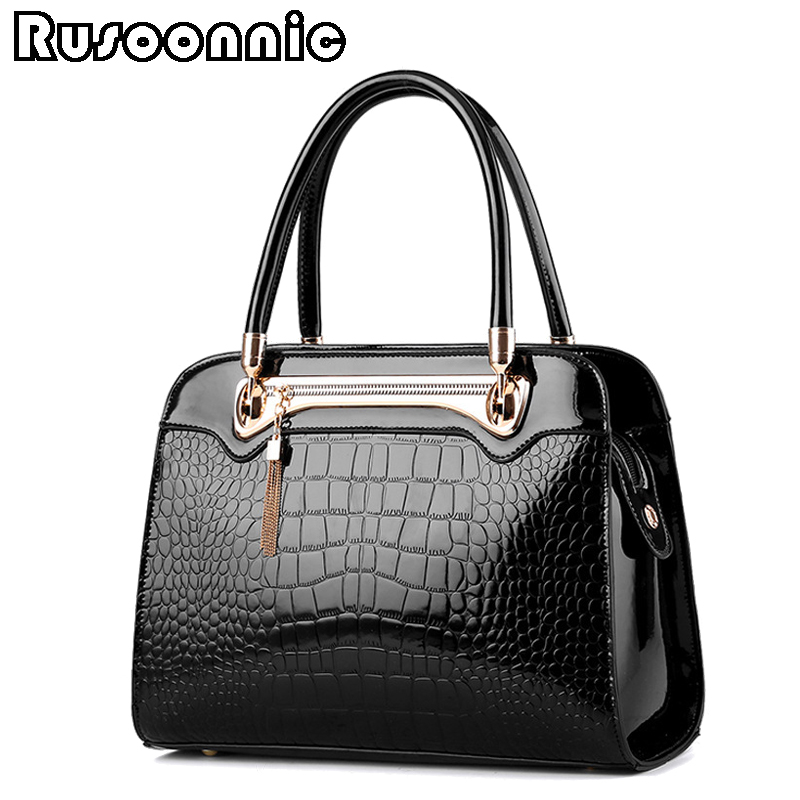 Rusoonnic Women Leather Handbag Ladies Alligator Handbags Crocodile Casual Tote Hand Bag Bolsa Feminina Bolsos Mujer forudesigns casual women handbags peacock feather printed shopping bag large capacity ladies handbags vintage bolsa feminina