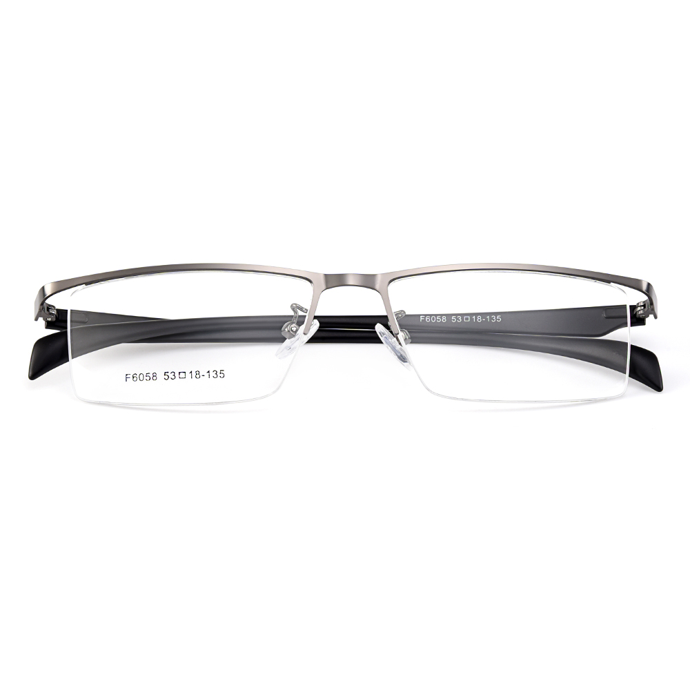 Gmei Optical Men Semi-Rimless Titanium Alloy Glasses Frames for Men Eyewears Flexible Legs IP Electroplating Spectacles Y6058