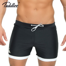 Taddlee Brand Mens Swimwear Swimsuits Swim Boxer Trunks Long Solid Color Black Board Surf Shorts Big Size XXL Traditional Trunk