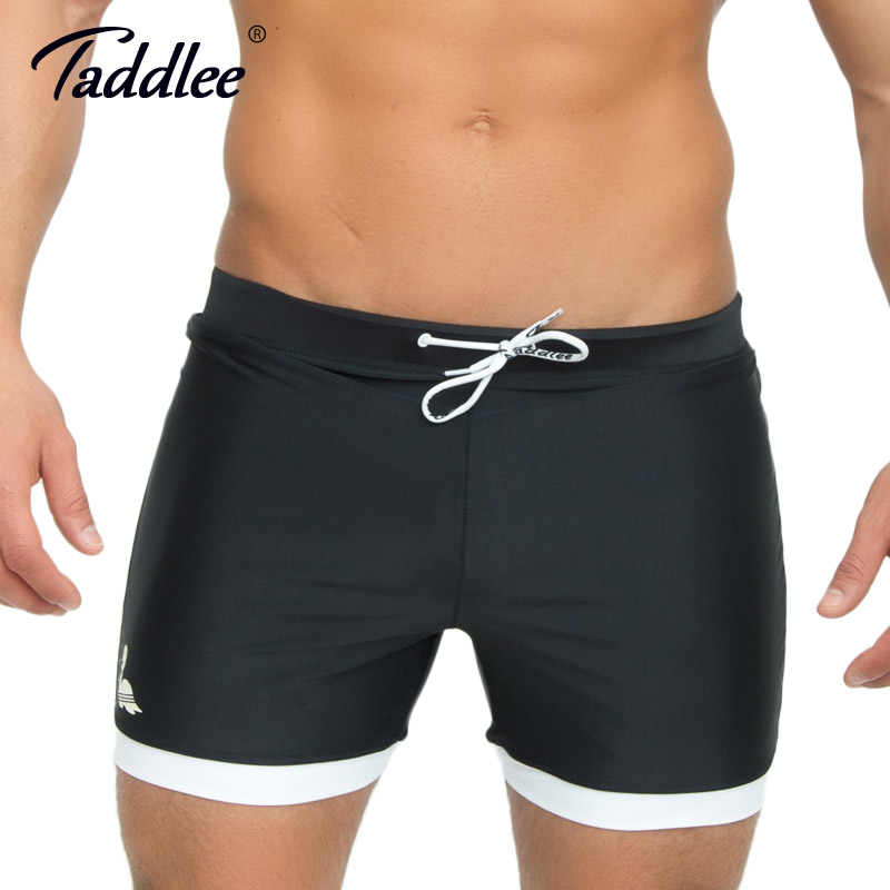 0073a802a0 Taddlee Brand Mens Swimwear Swimsuits Swim Boxer Trunks Long Solid Color  Black Board Surf Shorts Big