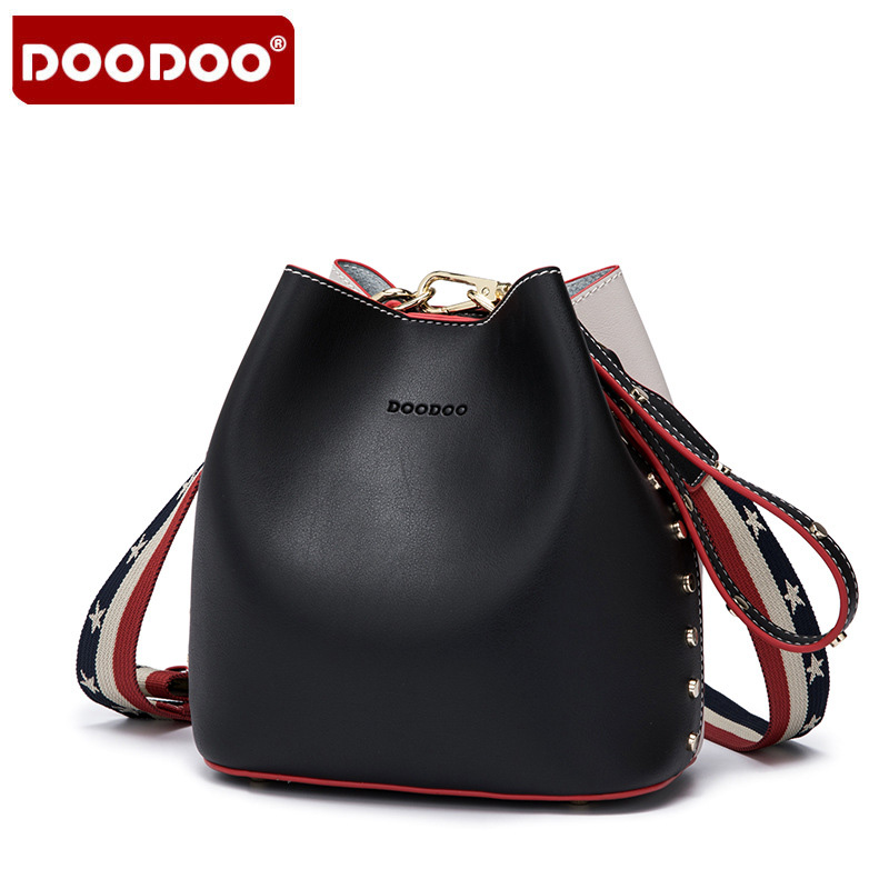 DOODOO Luxury Brand Designer Bucket bag Women Leather Wide Strap Shoulder bag Handbag Girls Bags Children Crossbody Bag Color 3 leftside fashionable 2017 women tassel designer rivet boston bag female handbag woman hand bags shoulder bag with wide strap