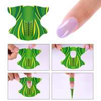 300pices/roll Professional Nail Forms Nails Gel Extension Green Paper Holder Sticker Finger Extensions Acrylic Nail Forms