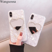 Heart-shaped Cute Mirror Soft Phone Cases For iPhone 7 8 Plus X XS XR Max 6 6S Plus Glitter Love Heart Cartoon Back Cover цена