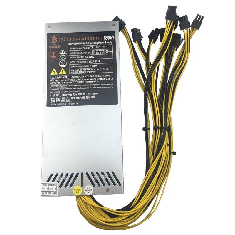 1800w power supply 6PIN 10 Ant ETH antminer BTC LTC DASH miner Max 2000W PSU for