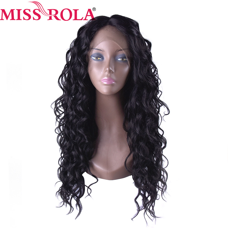 Miss Rola Long Wigs 10-20 Inches Kanekalon High Temperature Fiber Women Synthetic Swiss Lace Hair Wigs 1B# Curly Wigs 1Pc/Pack