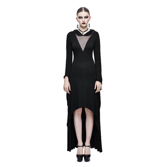 20d7edc60 € 53.54 20% de DESCUENTO|Gótico negro Maxi vestido transparente sexy hooed  asimétrico vestido primavera Trompetas manga larga Vestidos en Vestidos ...