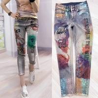 Fashion Women Boyfriend Jeans Hole Vintage Girls Denim Pencil Beauty Printing Pants Female Casual Slim Trousers