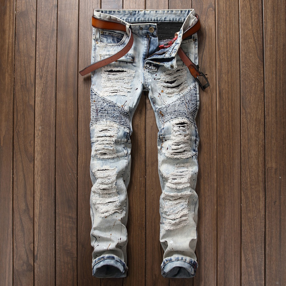 Men s Casual Vintage Blue Distressed Biker Jeans Straight Fit Denim Jeans Ripped Hole Style Size