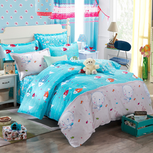 Cute Cat And Fish Bedding Set Super King King Queen Full Twin Size Bedding Set 3pcs 4pcs