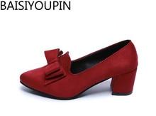 2018 Fsshion Womens Stilettos Sharp Heels Bows  Women's Single Shoe S Suede  Middle Heels Womens Shoes Work Shoes, Size 34-41