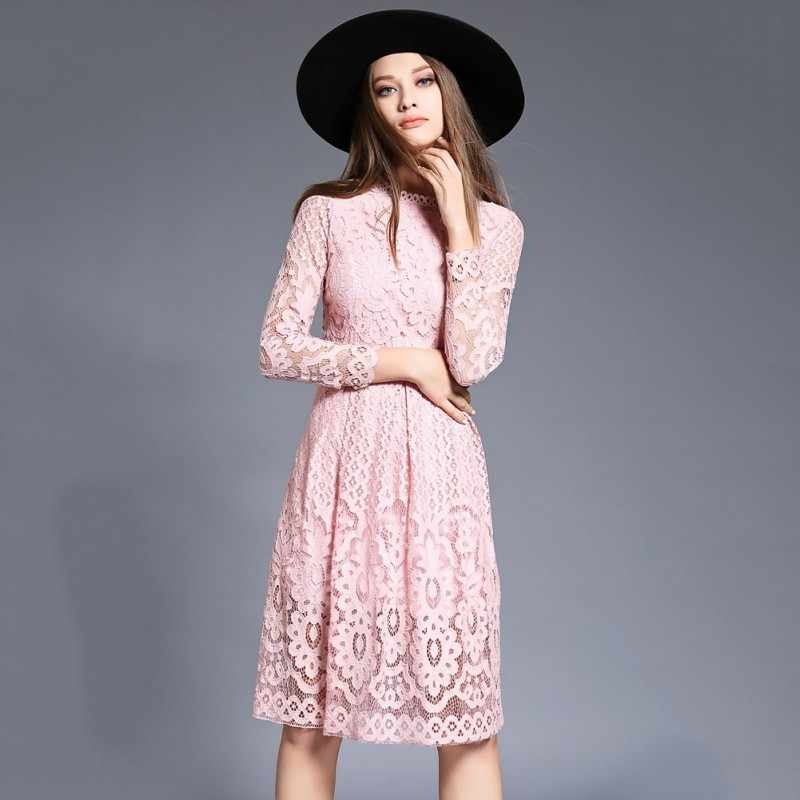 a0f32c402 New Fashion Women Bohemian Lace Autumn Dresses Crochet Casual Long Sleeve  Plus Size Party Elegant Dress