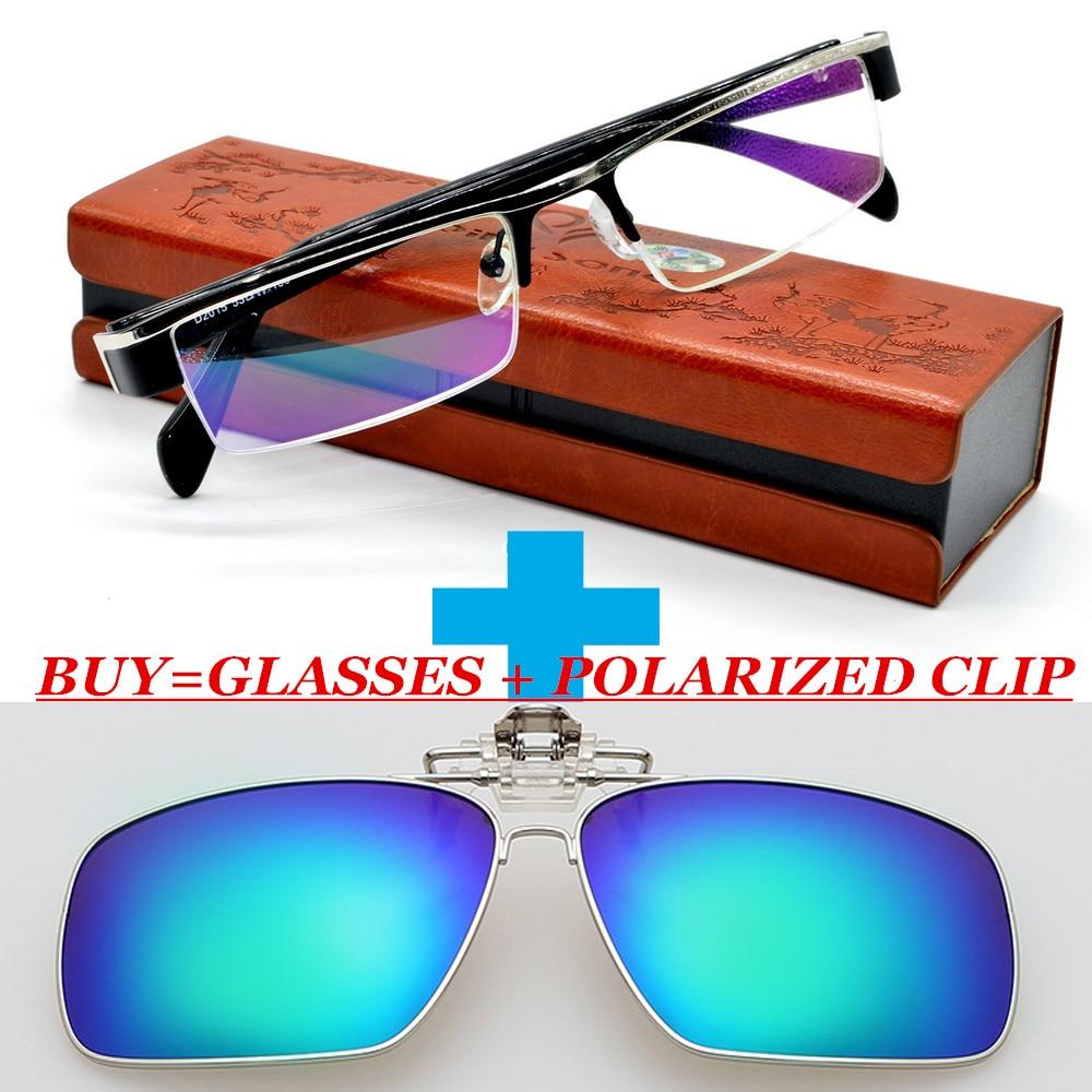 Un clip polarizado y clásico aleación de titanio hombres Multicoating lentes  negocios gafas de lectura 1 1.5 2 + 2.5 + 3 3.5 4 78ff8d132d