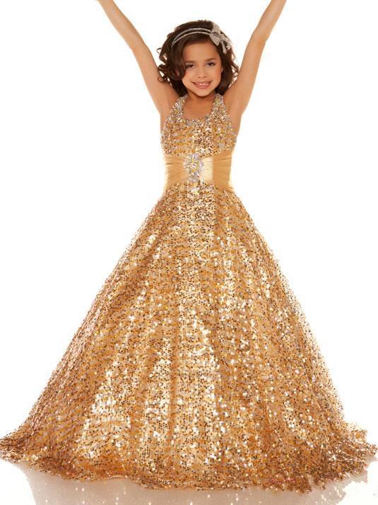 Luxury Champagne Sequins Long Girls Pageant Dress Halter with Sash Flower Girl Dress Custom MadeLuxury Champagne Sequins Long Girls Pageant Dress Halter with Sash Flower Girl Dress Custom Made