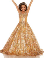 Luxury Champagne Sequins Long Girls Pageant Dress Halter with Sash Flower Girl Dress Custom Made