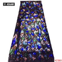 YF HZGJMY Latest African Laces 2019 French Bridal Lace Fabric Multi Color Sequin African Wedding Dress Mesh Lace Fabric A2380