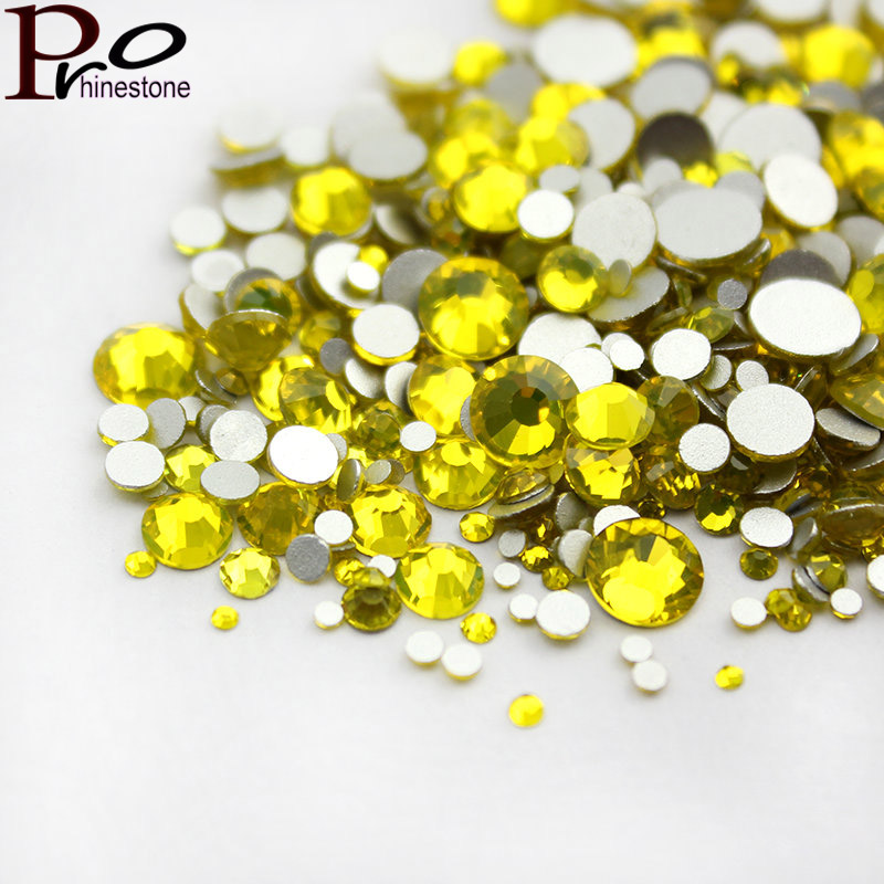 Citrine Nail Rhinestone Non Hotfix Rhinestone Flat Back Beads Round Glass Crystal Stone for Nail Art Decoration gitter 2 6mm citrine ab color resin rhinestones 14 facets round flatback non hotfix beads for 3d nail art decorations diy design