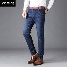 Vomint 2018 Men's Jeans Casual Business Worksuit Straight Fit Stretch Jeans Slant Pockets Long Trouser Elasticity Big Size 44 46