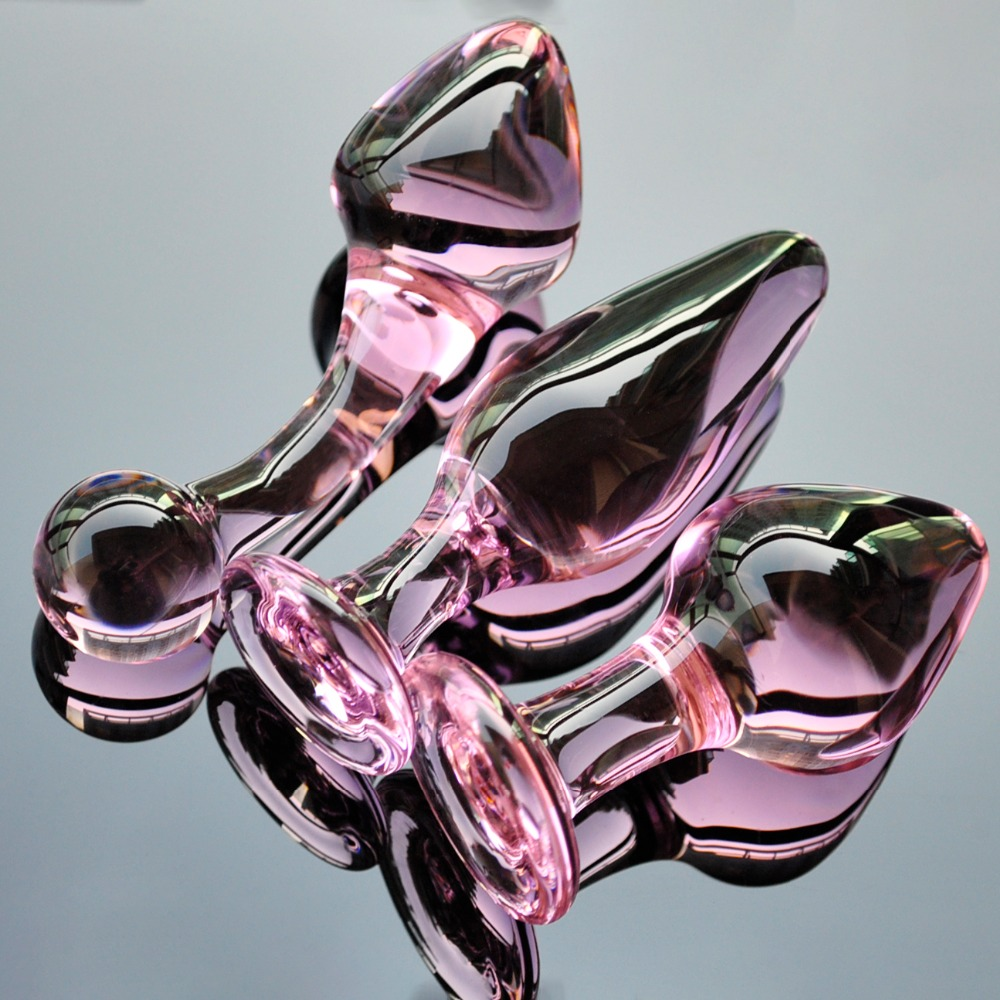 Rosa Kristall butt plugs set pyrexglas anal dildo kugel gefälschte penis weibliche masturbation sex spielzeug kit für erwachsene frauen männer homosexuell
