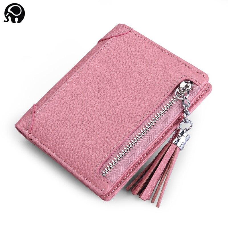 2018 Leather Slim Mini Wallet Women Small Clutch Female Purse Coin Card Holder Dollar Bag Cowhide Pocket Female Purse
