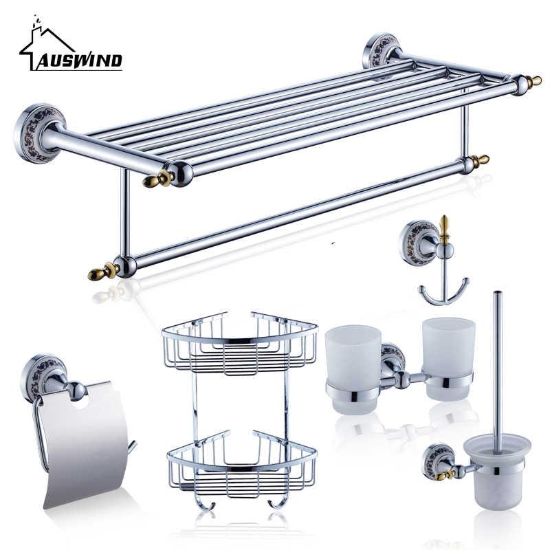 Chrom kończący łazienka sprzętu zestawy ceramiczne łazienka produkty antyczne zestaw akcesoriów łazienkowych ceramiczne ze stopu cynku metalowe
