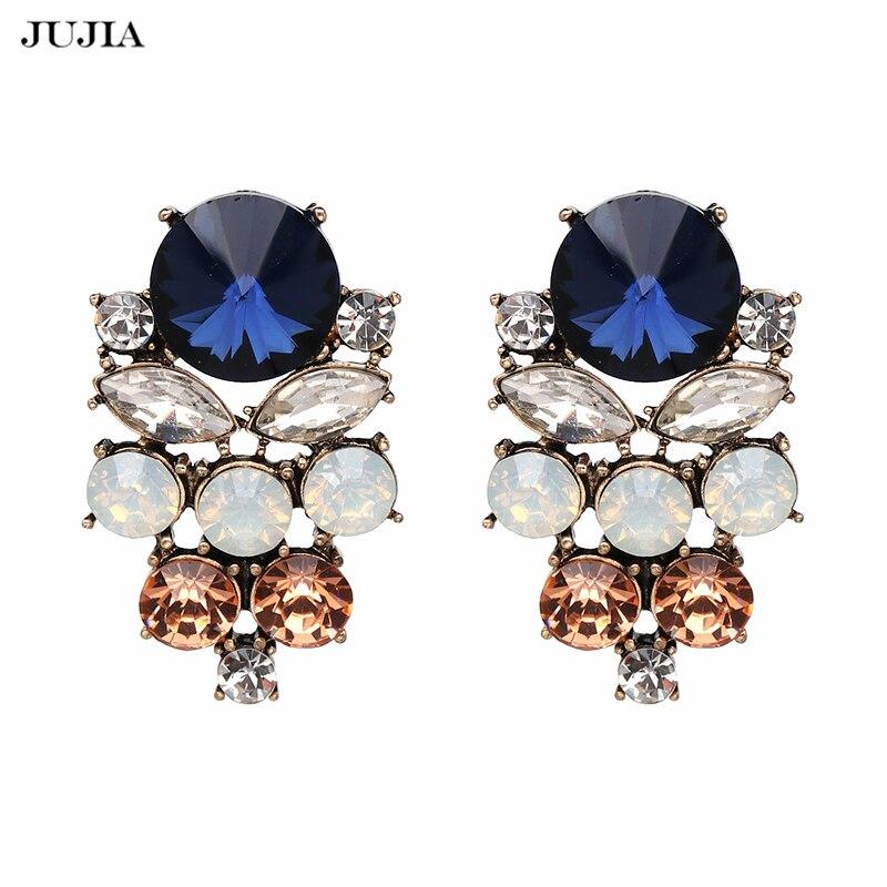 Multi-Color Rhinestone Earring Jewelry Boho Crystal Special Design Ethnic Stud Earrings For Women