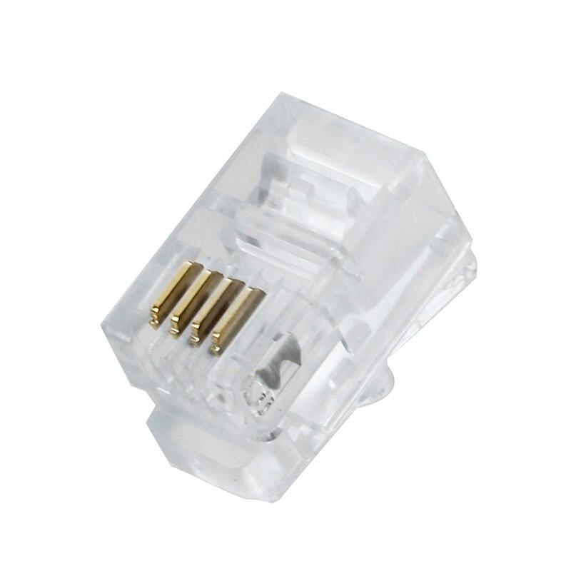 Clear Plastic 30 Pcs 4P4C Connector RJ9 Phone Adapter                                                                         #8