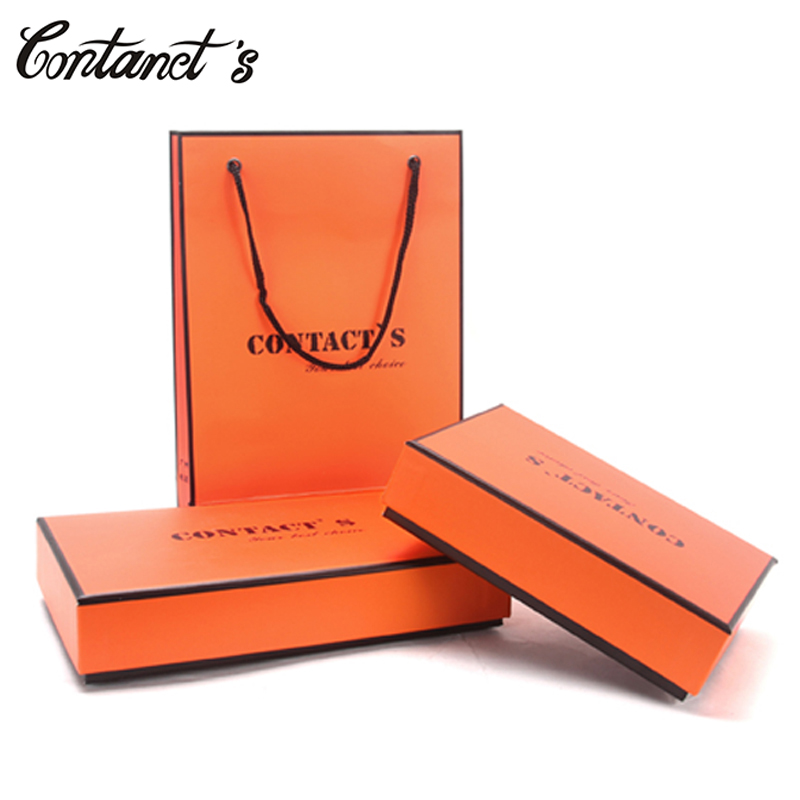 CONTACT'S Original Paper Gift Box For Men Wallets Box Rectangle Shaped Fashion Protection Gift Boxes Brand Design Package