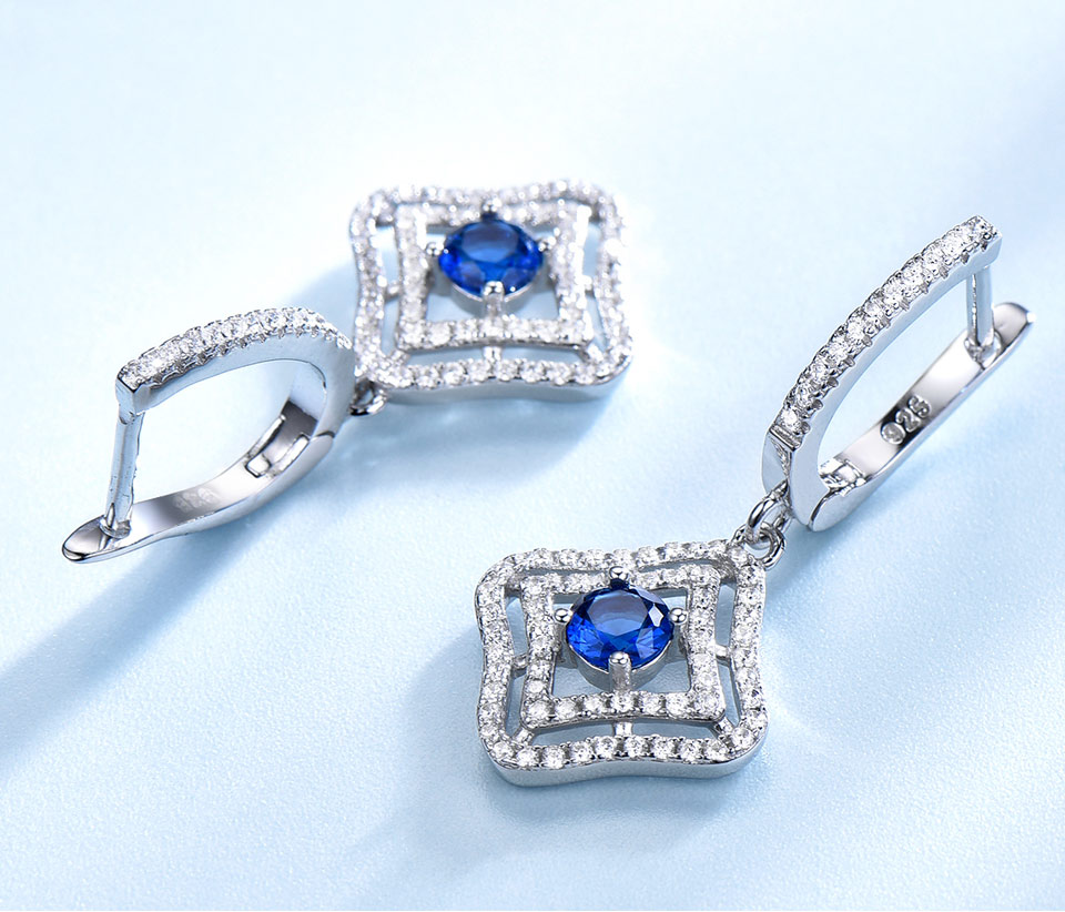 Honyy Sapphire 925 sterling silver jewelry set for women S023S-1 (6)