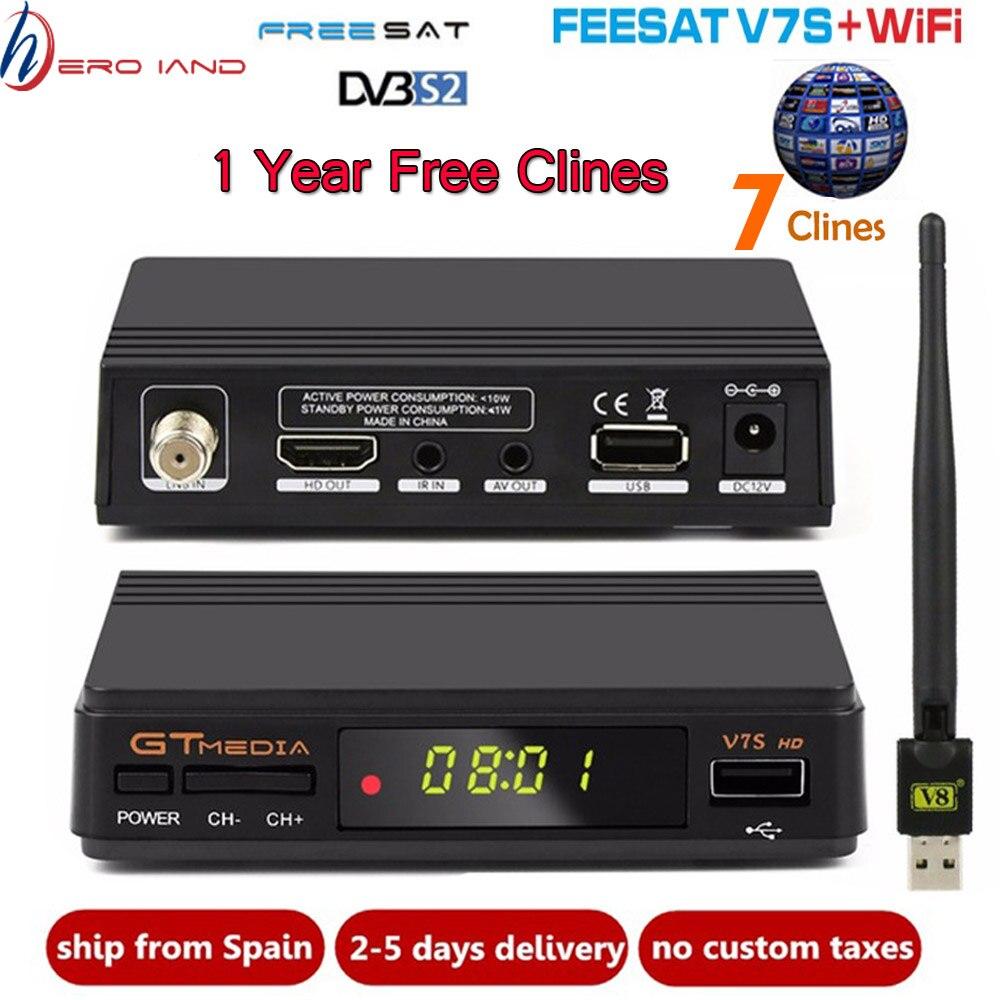 Récepteur Satellite Freesat GTMEDIA V7S HD + USB WIFI + Cline 1 an Europe espagne clines mise à niveau du récepteur numérique V7 HD DVB-S2