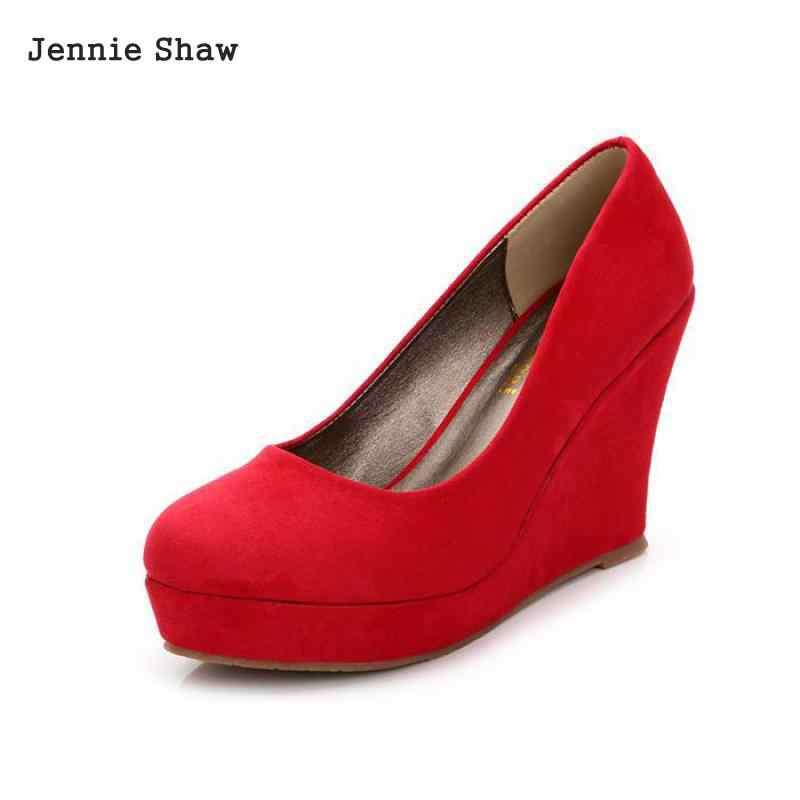 7b4b4b13c5 Women High Heel Wedge Shoe size 31 to 42 Red Black Blue Spring Shoes sys-