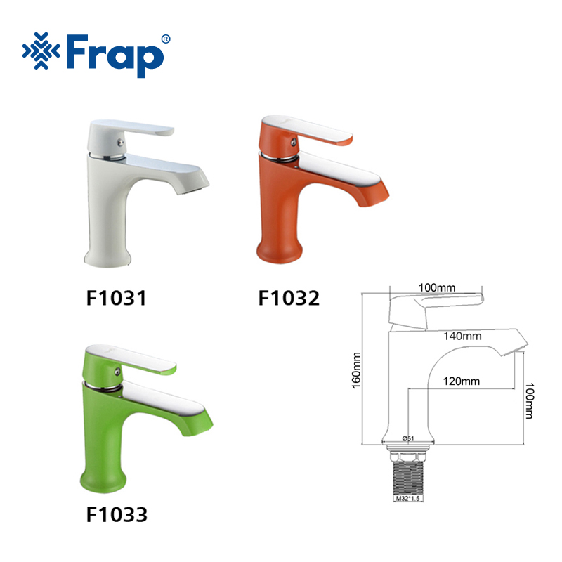 FRAP innovant mode Style maison multi-couleur bain bassin robinet d'eau froide et chaude robinets vert Orange blanc salle de bain mélangeur F1031 - 6