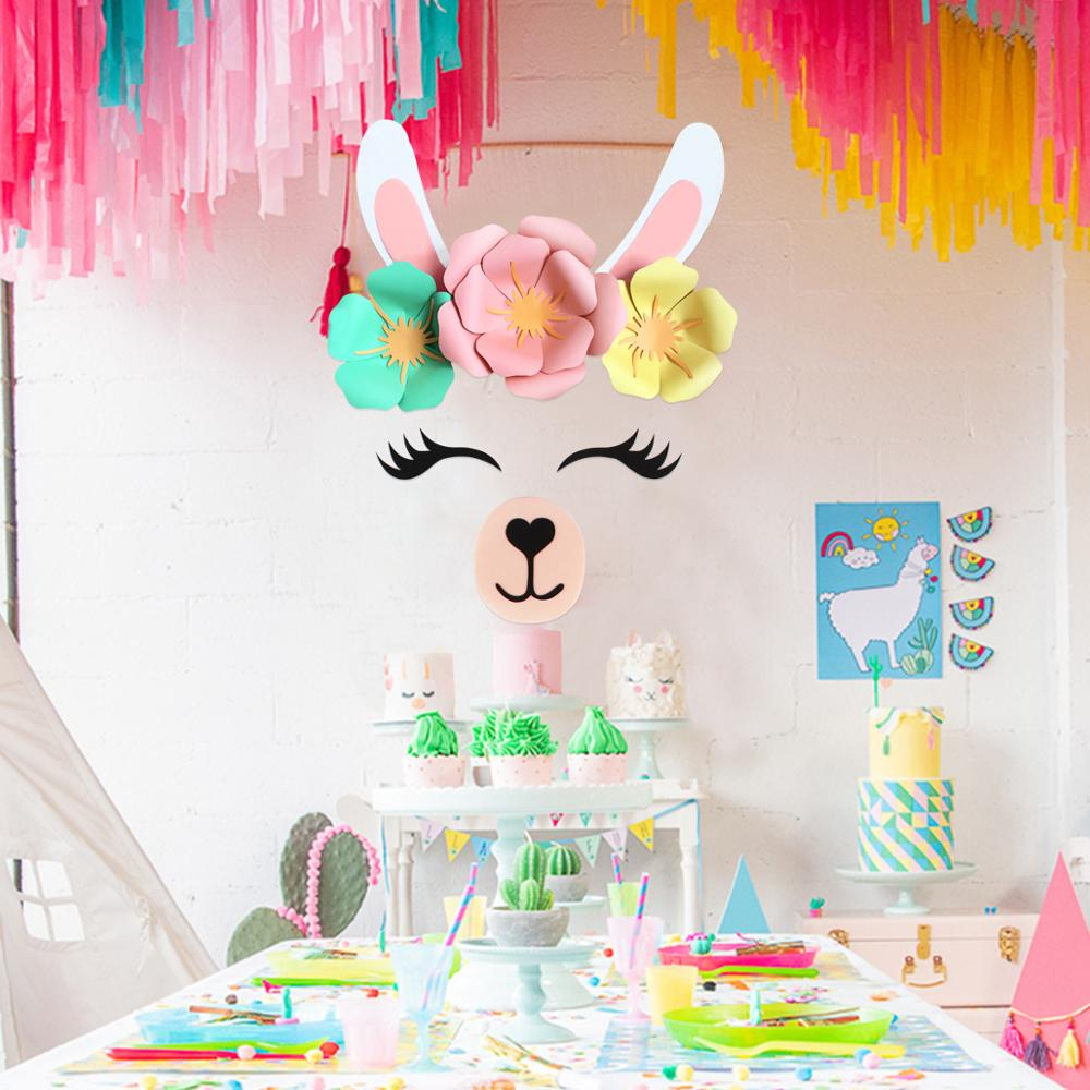 QIFU Alpaca Background Wall Decoration Paper Artificial Flowers Unicorn Background Wall Happy BIrthday Party Wedding Supplies in Party Backdrops from Home Garden