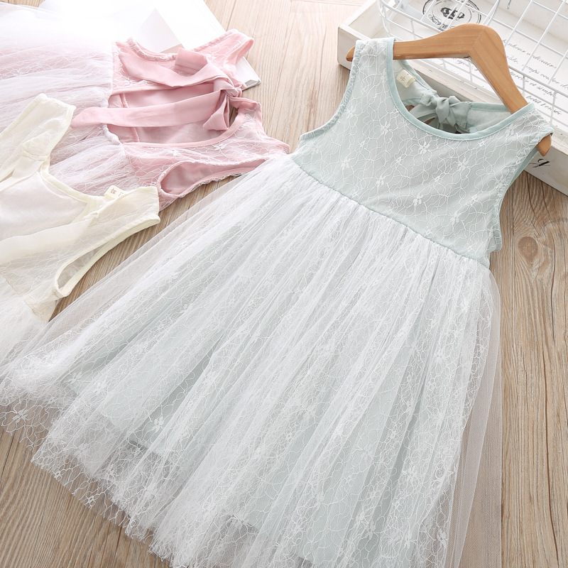 Toddler Girl Summer Lace Party Dress Boutique Kids Wholesale Lots Bulk Clothes Little Girl Backless Princess Tank Dress Back Bow