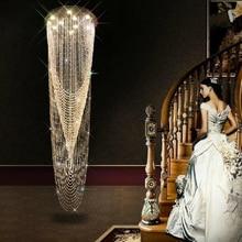купить Free Shipping LED modern crystal long pendant lights villa dining room parlor hall foyer lobby restaurant stair pendant lamps по цене 47415.51 рублей