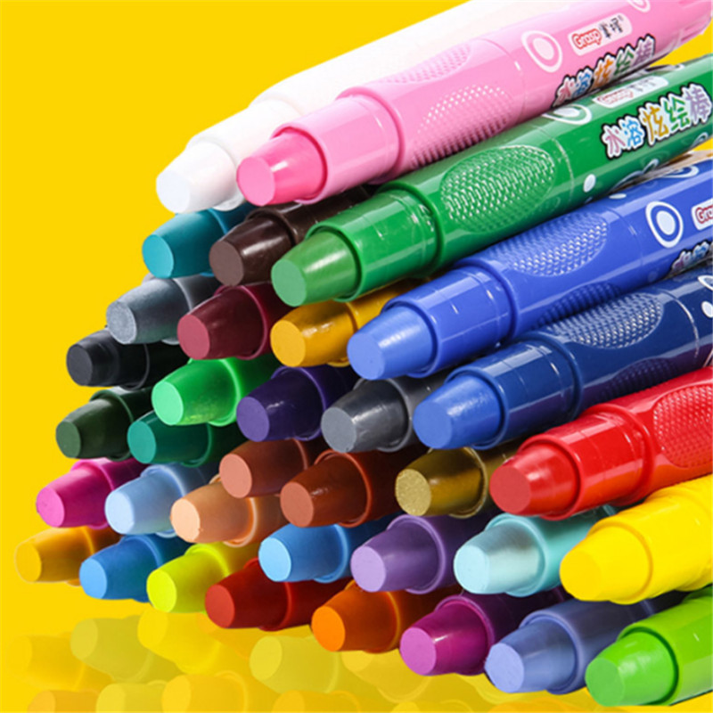 Water Soluble Crayons Bright Stick 48 Colors Children's Safety Can Wash Oiled Stick