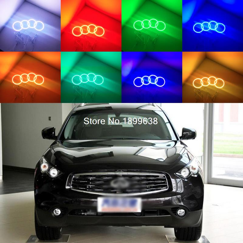 4pcs Super bright 7 color RGB LED Angel Eyes Kit with a remote control car styling For Infiniti FX QX70 FX35 FX37 FX50 2009-2013 2pcs super bright rgb led headlight halo angel demon eyes kit with a remote control car styling for ford mustang 2010 2012