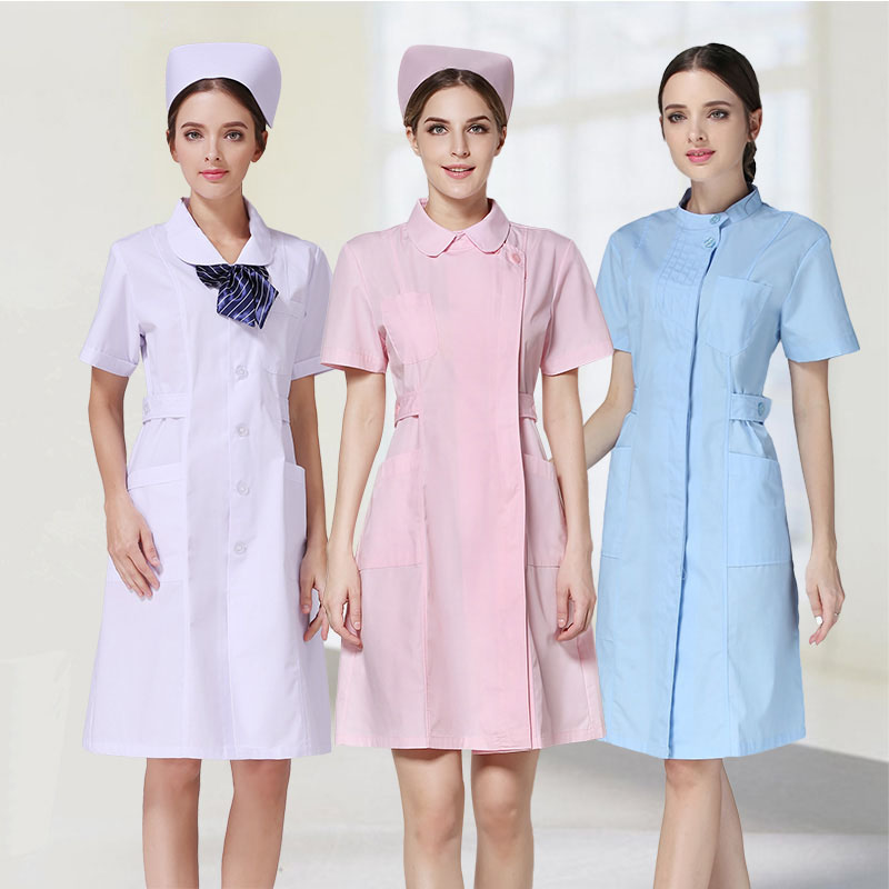 Hospital Wear Short Sleeve Women White Nurse Uniforms Dentist Doctor Wear Spa Clinic Lab Medical Costumes Coat for Women