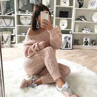 Twist Knitted 2 Piece Set Women Long Sleeve Pullover Sweater + Split Pants Set Sexy Lady Knitting trousers Suit