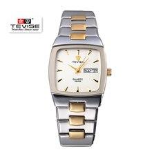 TEVISE lujo Men Square Reloj Superior de la Marca de Cuarzo Reloj de Los Hombres Relojes A Prueba de agua Reloj Relogio masculino reloj de Pulsera de Acero