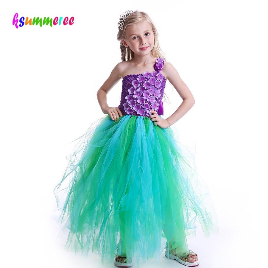 Mermaid Princess Flowers Tutu Dress Kids Purple Floral
