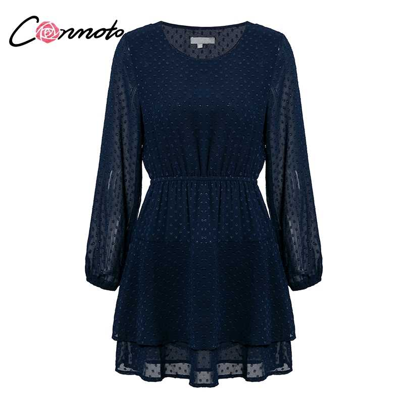 Conmoto Vintage Party Women Dress Elegant Long Sleeve Polka Dot Blue Dress Solid Short Ruffles Chiffon Winter Dress Vestidos