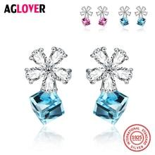 925 Sterling Silver Studs Earrings For Women Austrian Crystal AAA Zircon Flowers Blue/Pink New Free Shipping