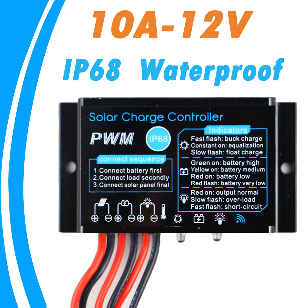 Solar 10A Charge Controller Regulator 12V 24V Waterproof IP68 Without Light and Timer Control Load 24 hours Working Outdoor Use 3a 6v 12v mini solar charge and discharge controller waterproof load working 24 hours