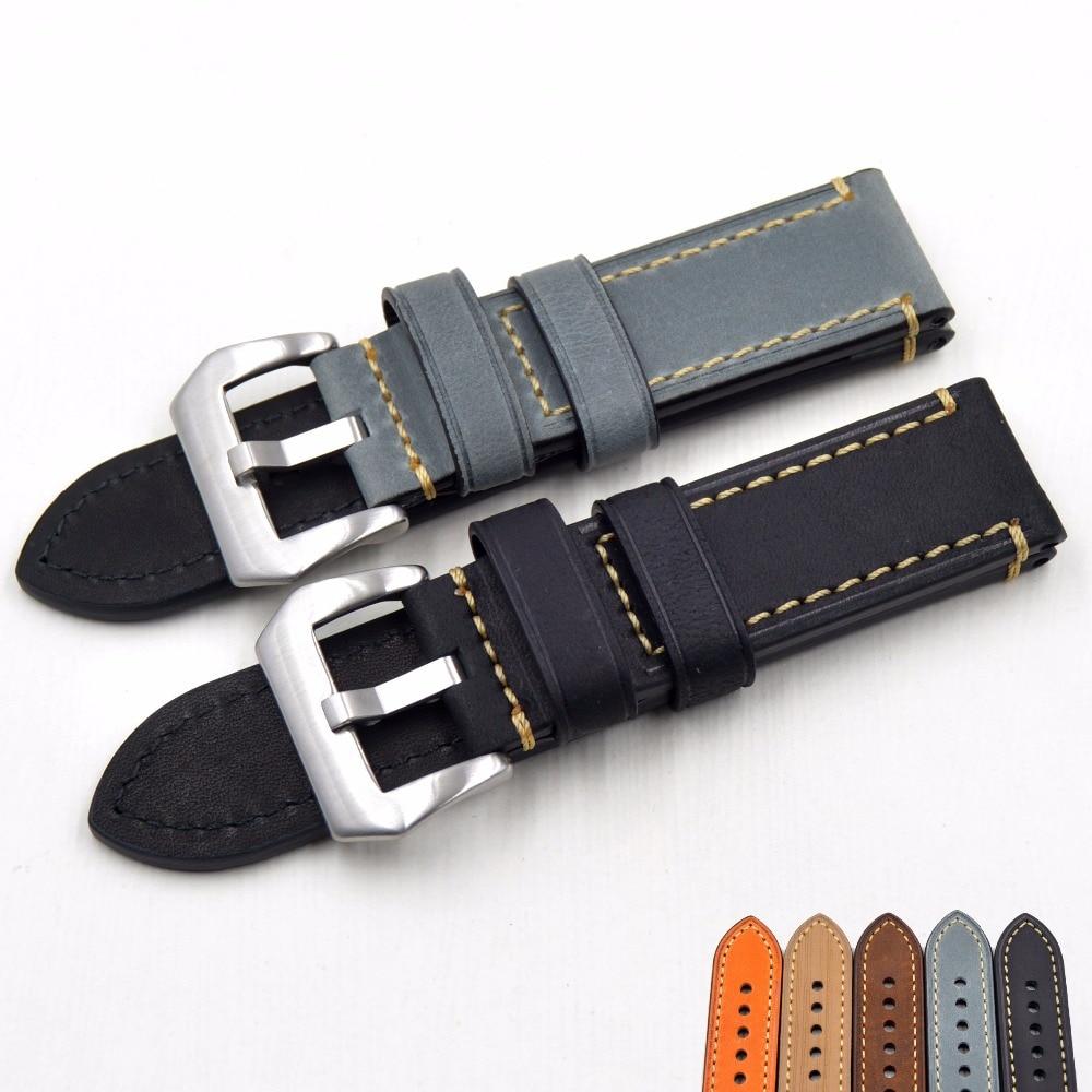 New Luxury Watch strap 20mm 22 2426mm Man Handmade Leather Brown Wrist