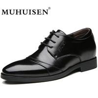 MUHUISEN High Quality Men Oxford Leather Shoes Fashion Lace Up Business Office Wedding Shoes Height Increasing